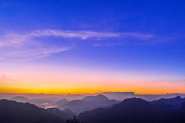 Morning sunrise time mountain scenery.