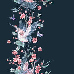 Watercolor seamless border with crane, blooming branches