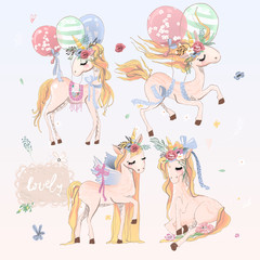 Collection, set of beautiful hand drawn unicorns with balloons, wings and floral flowers wreath. Romantic and beautiful, hand drawn magic vintage baby horse