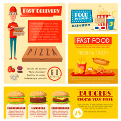 Fast food restaurant banner with meal and drink