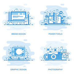 Modern flat color line concept web banner of Photography, Graphic Design, Power Tools and Brand Design. Conceptual vector illustration for web design, marketing, and graphic design.