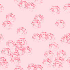 Seamless pattern with pink shabby circles on the lights pink background. Crazy dots mix. Good for Valentine's day, wedding or first date, birthday.