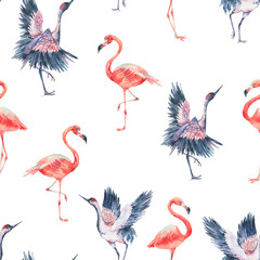 watercolor nature seamless pattern with crane