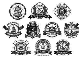 Nautical seafarer, marine sea sailor vector icons