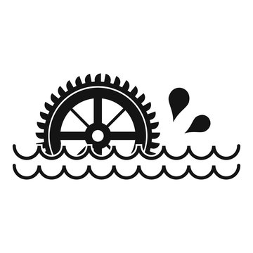 Waterwheel icon, simple style