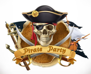 Pirate party. 3d vector emblem