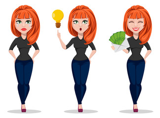 Freelancer woman cartoon character