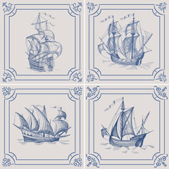 Old caravel. Ship on the Blue Dutch tile. Imitation. Frigate, vintage sailboat, Sailing vessel , glazed porcelain ceramic.