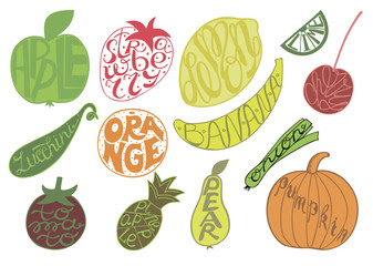 Set with fruits and vegetables, made hand lettering