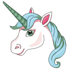 Unicorn's head. Cartoon style. Isolated image on white background. Clip art for children.