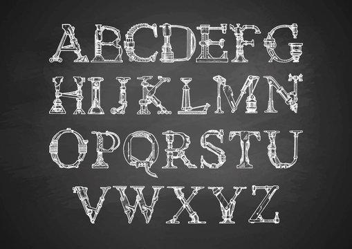 Steampunk font on blackboard