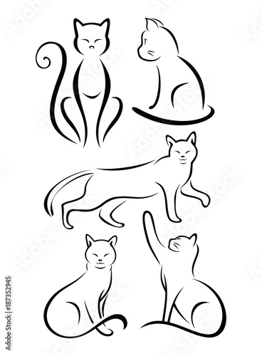 Set Line Simple Cat Design