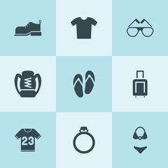 Set of 9 fashion filled icons