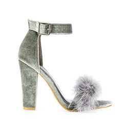 High heels with faux fur in gray
