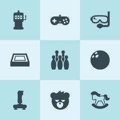 Set of 9 fun filled icons