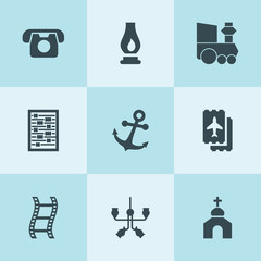 Set of 9 retro filled icons