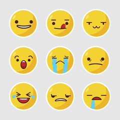 Emoticon collection. Expression emoji set. Vector stock.