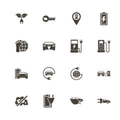 Electro Car icons. Perfect black pictogram on white background. Flat simple vector icon.