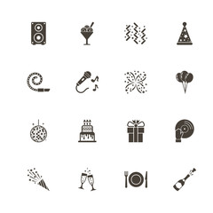Events icons. Perfect black pictogram on white background. Flat simple vector icon.