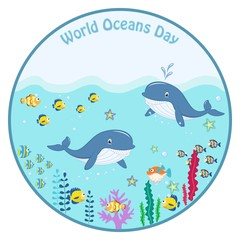 World ocean day. cartoon picture, vector illustration