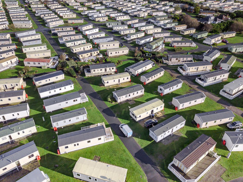 Caravan and camping, static home aerial view. Porthmadog holiday park taken from the air by a drone