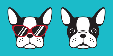 dog vector french bulldog icon logo sunglasses cartoon illustration character doodle