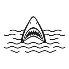 Shark icon vector logo mouth Ocean Sea dolphin whale illustration cartoon