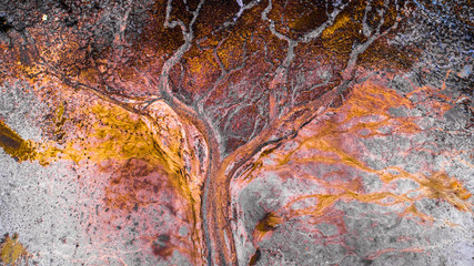 Spoed Fotobehang Luchtfoto Beautiful abstract aerial photo about a lakebed