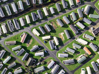 Caravan and camping, static home aerial view. Porthmadog holiday park taken from the air by a drone Wall mural