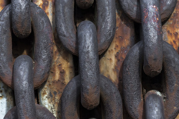 Urbex. Rusty chain of abandoned machinery