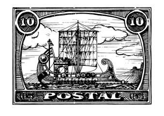 Postage stamp with ship