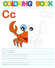 Coloring book alphabet. Educational game for kid. Simple level of difficulty. Restore dashed line and color the picture. Trace game for children.  Letter C. Crab
