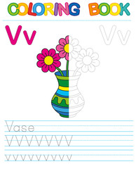 Coloring book alphabet. Educational game for kid. Simple level of difficulty. Restore dashed line and color the picture. Trace game for children.   Letter V. Vase