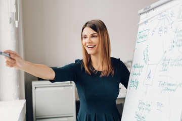 Grinning young woman revealing whiteboard