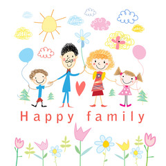 Cartoon baby drawing happy family
