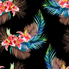 Seamless floral pattern with beautiful watercolor palm leaves and lilies. Colorful jungle foliage with bronze metallic elements on black background. Textile design.