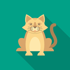 Cat icon with long shadow. Flat design style. Cat simple silhouette. Modern, minimalist icon in stylish colors. Web site page and mobile app design vector element.