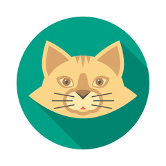 Cat face circle icon with long shadow. Flat design style. Cat head simple silhouette. Modern, minimalist, round icon in stylish colors. Web site page and mobile app design vector element.