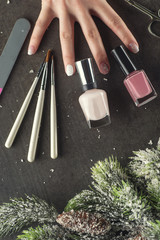 winter theme nails design and manicure, instruments for manicure with needles