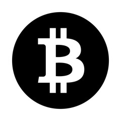 Bitcoin circle icon. Black, round, minimalist icon isolated on white background. Crypto currency simple silhouette. Web site page and mobile app design vector element.