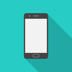 Mobile phone icon with long shadow. Flat design style. Smart phone simple silhouette. Modern, minimalist icon in stylish colors. Web site page and mobile app design vector element.