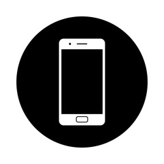 Mobile phone circle icon. Black, round, minimalist icon isolated on white background. Smart phone simple silhouette. Web site page and mobile app design vector element.