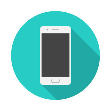 Mobile phone circle icon with long shadow. Flat design style. Smart phone simple silhouette. Modern, minimalist, round icon in stylish colors. Web site page and mobile app design vector element.