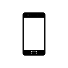 Mobile phone icon. Black, minimalist icon isolated on white background. Smart phone simple silhouette. Web site page and mobile app design vector element.