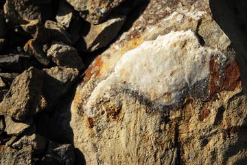 quartz rock on the rubbles