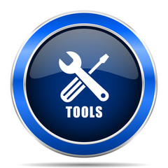 Tools vector icon. Modern design blue silver metallic glossy web and mobile applications button in eps 10