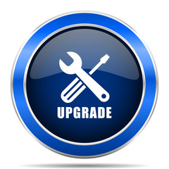 Upgrade vector icon. Modern design blue silver metallic glossy web and mobile applications button in eps 10