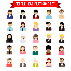 Collection of people head flat icon set isolated on white background vector illustration