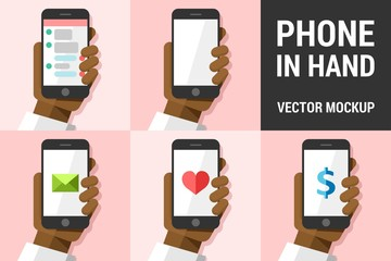 Hand using vector mobile phone on colored illustration background mockup pack 5