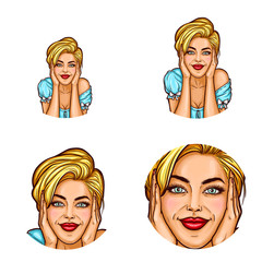 Set of vector pop art round avatar icons for users of social networking, blogs, profile icons. Beautiful woman with blond hair resting her chin on her hands and dreamily smiling with her eyes open
